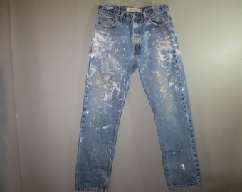 LEVI'S 505 Jeans Regular Fit // Paint, Fraying on Pockets // Blue Denim...34 X 31 1/2