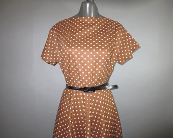 "1950's Polka Dot Dress // Side Zipper // Raglan Sleeve // Cotton...28"" waist"