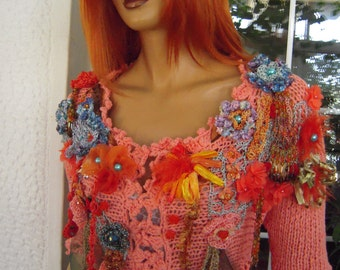 SOLD Handmade knitted cardigan,glam romantic,gypsy cardigan in coral,fairy boho mini cardigan unique gift idea for her by goldenyarn