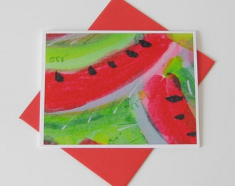 Watermelon Slice Notecard //  Watercolor Painting // Printed // Blank Note Card // Any Occasion