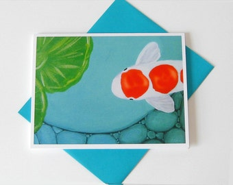 Koi Fish Pond Notecard // Acrylic Painting // Printed // Blank Note Card // Any Occasion