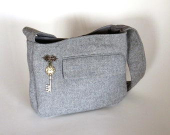GRAY WOOL TWEED Purse-Shoulder Bag / Lined W Pockets & Vintage Faux Clock Pin / From Upcycled Wool Suit: Great Christmas/Birthday Gift #048