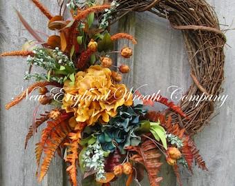 Fall Wreath, Autumn Wreaths, Thanksgiving Wreath, Harvest Decor, Elegant Fall Wreath, Fall Floral Wreath, Designer Fall Floral