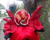black red gothic rose floral faery fae horn headdress