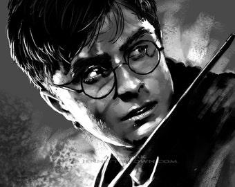Daniel Radcliffe Harry Potter Portrait Fan Art Prints and Posters