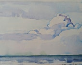 """Clouds over Beverly Shores Beach, 6 1/4 x 8 1/4"""", original watercolor of Lake Michigan, blues, clouds, water, contemporary landscape"""