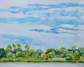 Last Day at Great Marsh, original watercolor landscape, blue sky, fluffy clouds,greens,trees,Michigan artist, Indiana Dunes Nat'l Lakeshore