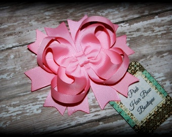 Pink Hair Bow, Pink Hair clip, Pink Boutique Hair Bow, Toddler hair bow, Pink bow, Pink Hairbow, Pretty in Pink Hair bow