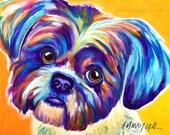Shih Tzu, Pet Portrait, DawgArt, Dog Art, Shih Tzu Art, Original Painting, Pet Portrait Art, Colorful Dog Art, Shih Tzu Painting, Art, Dog