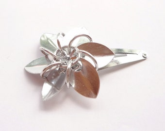 Silver Flower Barrette Made From Anodized Aluminum Scalemaille
