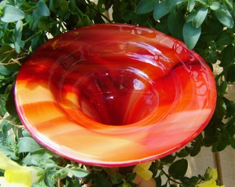 HOUSEWARMING GIFT, Garden Butterfly Feeder, stained glass and copper, SUNSET Red, Garden Art