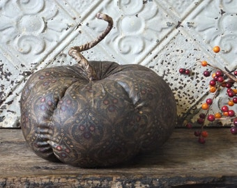 Primitive Pumpkin Harvest Halloween Decor Handmade Rustic Country Fabric