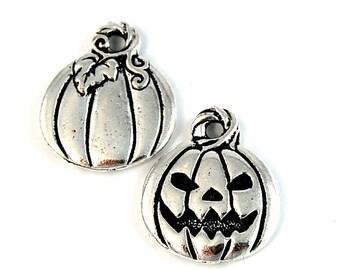 TierraCast Antique Silver (plated) Jack O'Lantern Halloween Charm