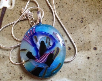 Blue swirl glass art pendant, handmade necklace, bohemian necklace