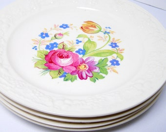 """Floral Homer Laughlin Plates (4) - """"Eggshell Theme"""" with Floral Center, 6 1/8"""" BB or Small Dessert, Pink Roses and Forget-me-nots"""
