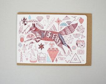 Fox + Diamonds Card (A6)