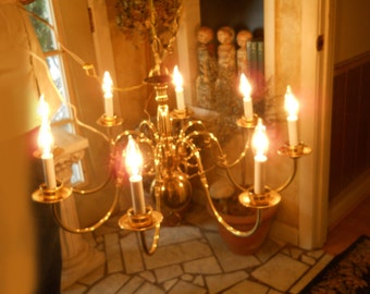 Vintage 8 Arm Chandelier With Candle Sleeves Large Brass Ball and Finial with Chain Working Chandelier Vintage Lighting