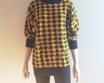 Vintage 80s Contempo Casuals Houndstooth Sweater