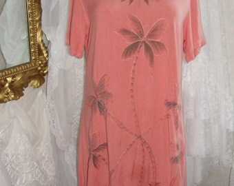 Soft peach dress with palm trees, beach cover up