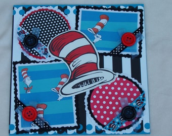 Dr Seuss Inspired Cat in the Hat Horton Green Eggs Ham 12x12 Premade Scrapbook Page by KARI