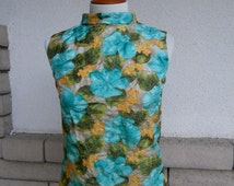 60s Pin Up Top Floral Mad Men Blouse Turquoise Yellow Summer Zip Back Size Small
