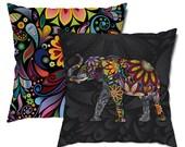 Elegant Elephant Floral Throw Pillow