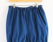 Lightweight Denim Drawstring Shorts, Lounge Activewear Bloomers, Comfy High Waisted Summer Denim