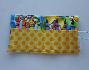 Crayon Roll, Crayon Holder, Holds 8 Count Classic, Bernstein Bears with Yellow Polka Dot Pocket, Ready to Ship