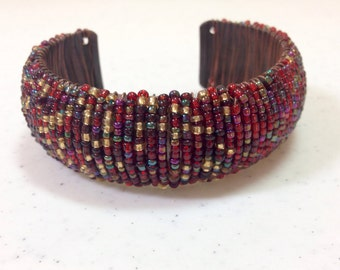 Red Beaded Wide Copper Cuff Bracelet, Two Toned, Red Gold And Green and Red and Green Handmade One of a Kind Previously 25 Dollars ON SALE