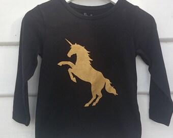 Upcycled long sleeve tshirt. Hand printed Gold Unicorn. Size 2.