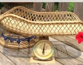 Vintage Midcentury Wicker Baby Scale Holds up to 30 Pounds.