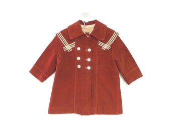 Vintage Baby Clothes, 1900's Rare Handmade Dark Red and Ivory Double Breasted Wool Baby Girl Coat Set, Vintage Baby Coat, Size 12-18 Months