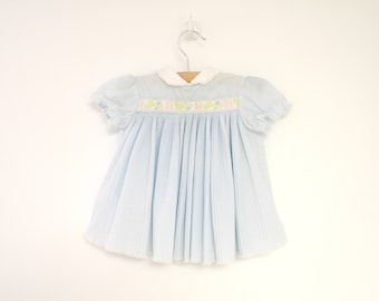 Vintage Baby Clothes, 1970's Powder Blue Pleated Floral Baby Girl Dress, Vintage Baby Dress, Blue Baby Dress, Size 6-9 Months Size