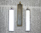 6 Rectangle Pendant cabochon settings for photos, altered art, fabric 10mm x 50mm Charms- Sale