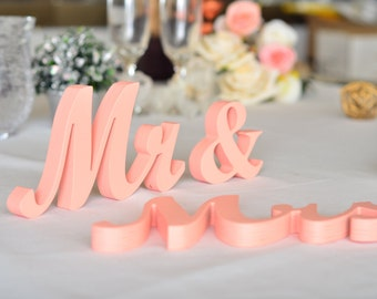 Peach  mr. . mrs.. sign set.  Wedding sign set. Sweetheart table decor wooden signs.