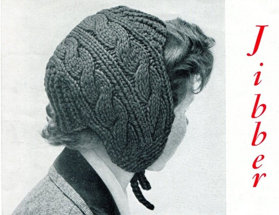 Hat With Ear Flaps Knitting Pattern : 1950s Cable Knit Childs Hat with Ear Flaps Pattern