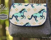 Lilac Mini Messenger Bag in Cotton + Steel Mustangs Horses by Melody Miller PLUS bonus Key Fob