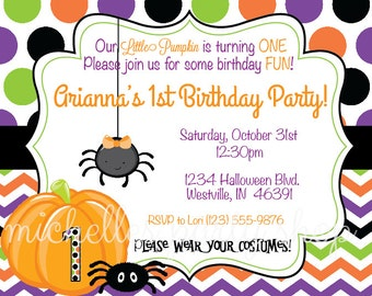 SET OF 12 Halloween First Birthday Invitations, envelopes included