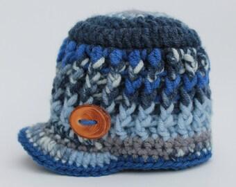 Crochet Bram Beanie with Brim - Newborn, 3-6 month, & 6-12 month size