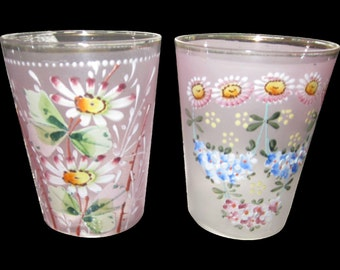 2 frosted Pink hand painted enameled flowers Bohemian/Czech Victorian glass tumblers/serving /glasses/home decor