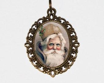 Rustic Santa Necklace, Christmas Jewelry, Santa Claus, Bronze Oval Pendant