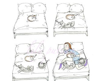 Amelioration of Bedtime CARD, Cat Lady, Bedtime, Cats, Comic