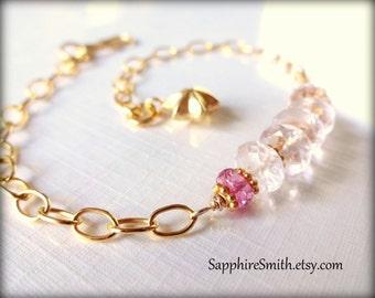 TAKE 28% OFF across the shop! (coupon code THANKYOU) Luxe Pale Pink Morganite Beryl Gemstones, Pink Sapphire & Bali Gold Vermeil Bracelet