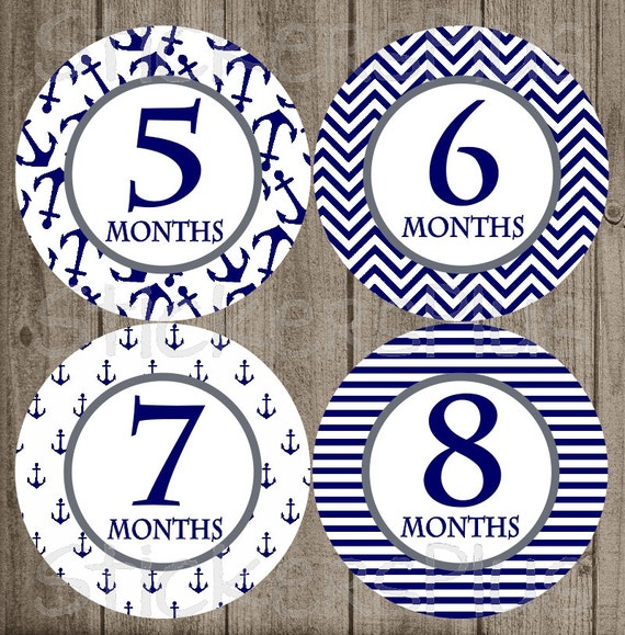 Baby Shower Stickers Next Day Delivery ~ Monthly baby boy milestone stickers navy anchor anchors