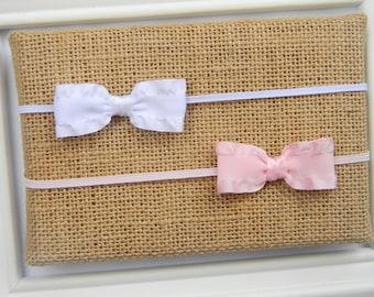Set of 2 Baby Headbands, Newborn Bow Headband, Newborn Headband, Pink Bow Headband, White Bow Headband