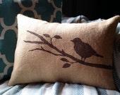 Bird Pillow Cover - Burlap Pillow - 12 x 18 - Bird on a Branch Decorative Pillow - Choose Your Colors - Cottage Home Decor - Bird Pillow