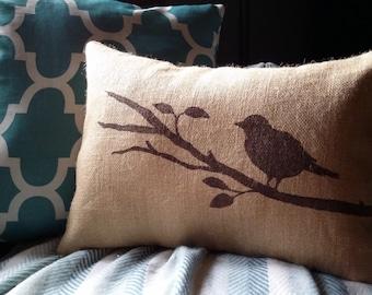 Bird Pillow Cover 12 x 18, Burlap Pillow Cover, Songbird on a Branch, Decorative Pillow, Choose Your Colors, Spring Home Decor, Bird Pillow