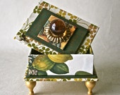 Handmade Box in Greens and Yellows with Turned Wooden Legs for Decor and Gift