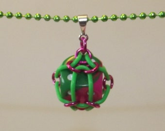 Green and Pink Caged Chainmaille Necklace