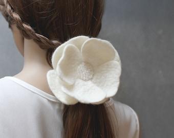 White Flower - felt flower - Ponytail Holder -  Elastic Hair Tie - wool flower